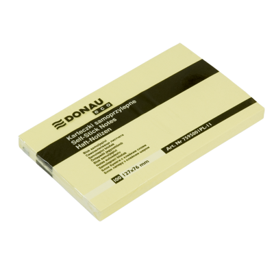 Блок для заметок Donau 127x76/100 лист (эко), желтый