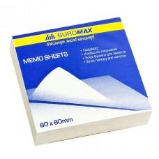 Блок белой бумаги для заметок BuroMax 80х80х30 мм, не скл