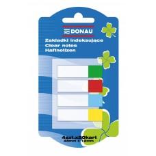 Закладки пластиковые Donau с клейким слоем 4 кол*20 лист, 45x12 мм, прозрачные