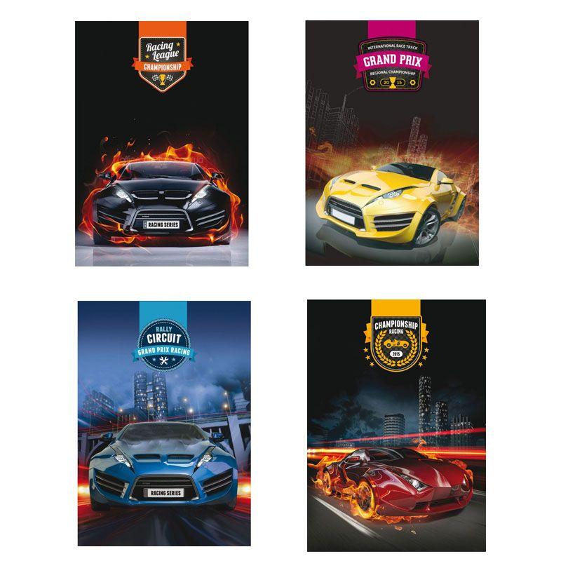 Блокнот Автомобили, А6, 48 л., обложка - пластик с полноцветной печатью, крепление блока - боковая спираль, ассорти