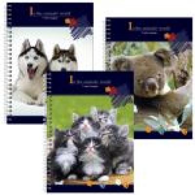 Блокнот В мире животных А6, обложка - пластик с полноцветной печатью, крепление блока - боковая спираль, ассорти