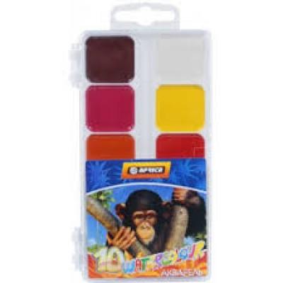 """Краски акварельные медовые """"Africa"""", 10 цветов, без кисточки, пластик Economix"""