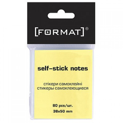 Блок для заметок с клейким шаром 38*50 Format 80 желтых листов