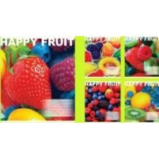 Тетрадь школьная Happy Fruit 12 листов, в ассортименте