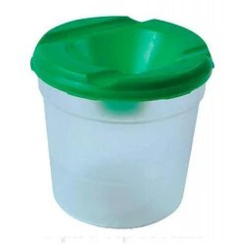 Стакан для кистей Непроливайки одинарный, пластиковый, цветной, с широким отверстием (зеленый)