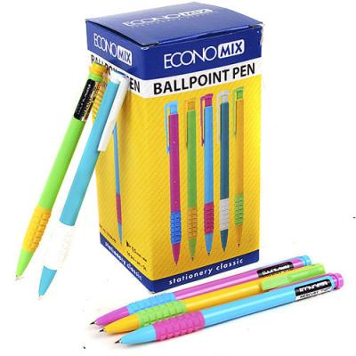 Ручка шариковая автомат Economix MERCURY, корпус ассорти, синяя паста