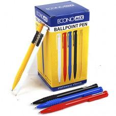 Ручка шариковая автомат Economix MERCURY, корпус однотонный ассорти, синяя паста