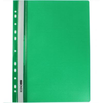 Папка-скоросшиватель А4 Economix с перфорацией, фактура апельсин, зеленая