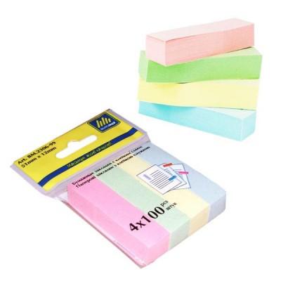 Закладки бумажные Buromax 51х12 мм, 4х100 листов, ассорти