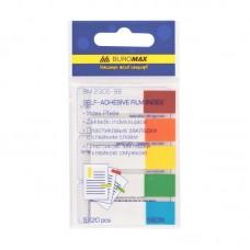 Закладки пластиковые Buromax с клейким слоем NEON, 45х12 мм, 5х20 листов, ассорти, маленькие