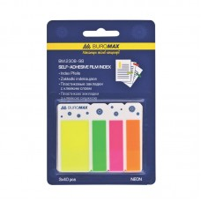Закладки пластиковые с клейким слоем NEON, 45х25 мм + 45х12 мм, 3х40 листов ассорти