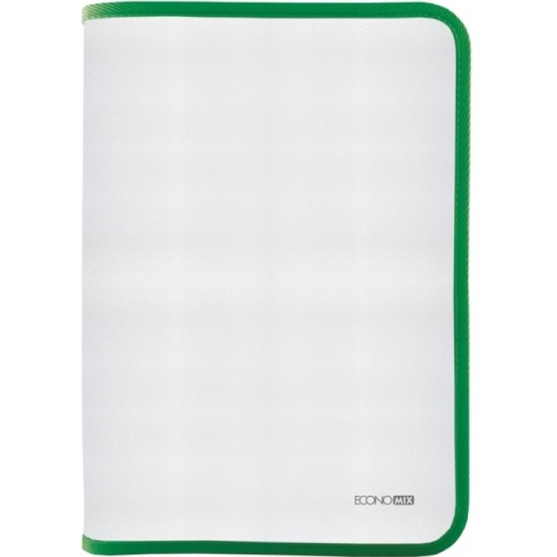 Папка-пенал пластиковая на молнии В5, фактура: ткань, зеленый E31645-04