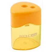 Точилка пластиковая с контейнером треугольная, 2 лезвия Economix E40623