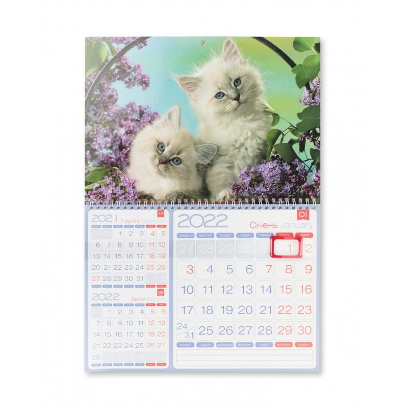 """Календарь квартальный 2022 г. """"3 в 1"""" котята, 2022J1-02"""