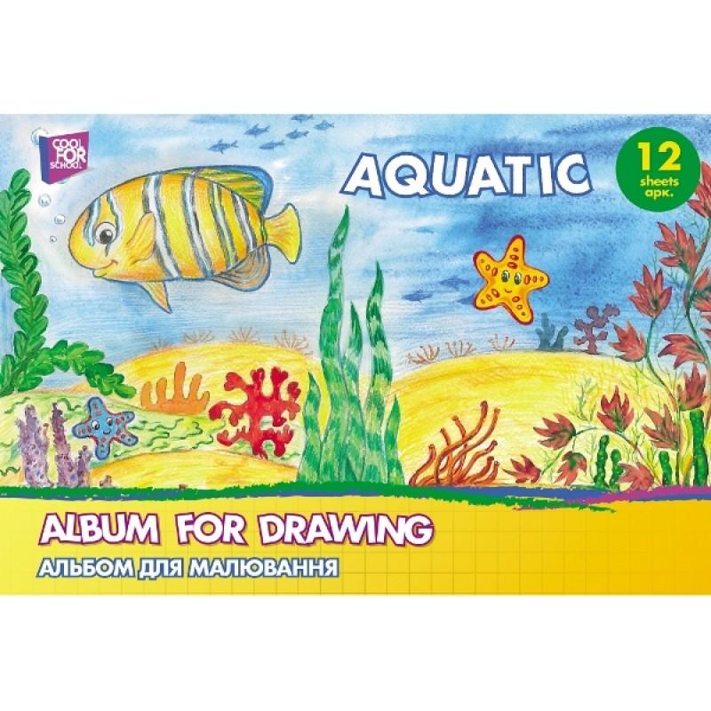 Альбом для рисования на скобе, 12 листов, «Aquatic» CF60901-01