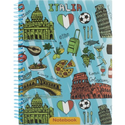"Блокнот ""Travelling: ITALIA"" А5, пластиковая обл., Спираль, 80 л., Клетка E21953-03"