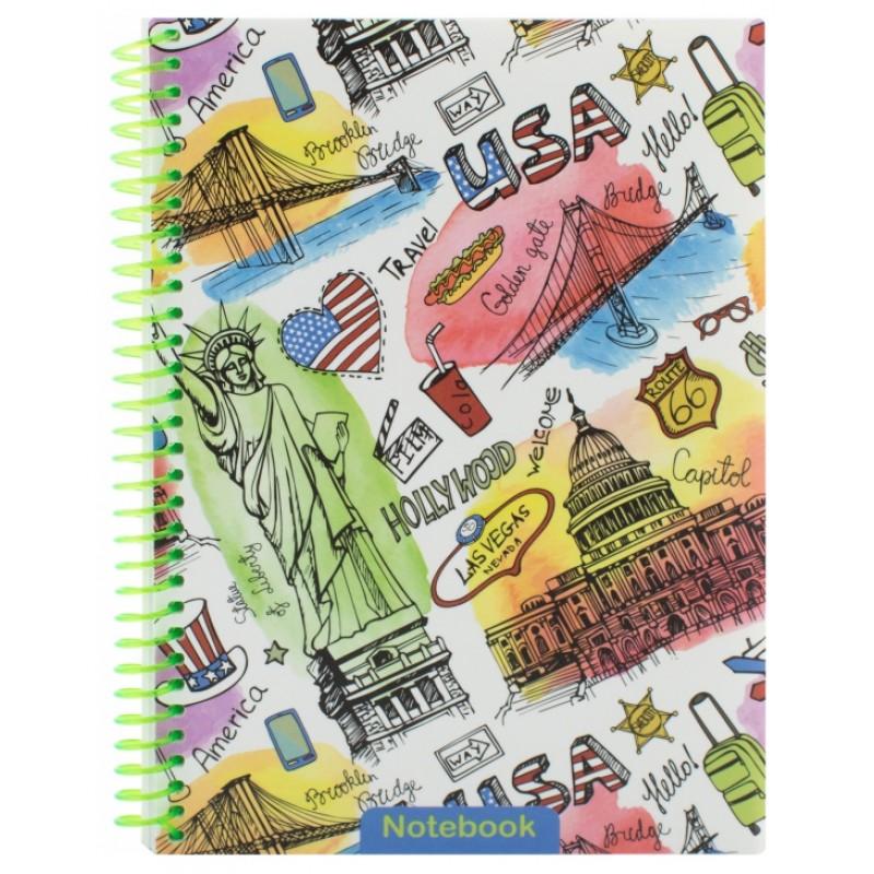 """Блокнот """"Travelling: USA"""" А5 (150х200 мм), пластиковая обложка, спираль, 80 л., Клетка E21953-01"""