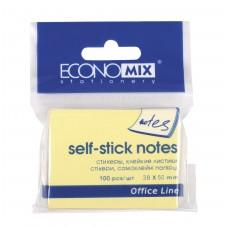 Блок для заміток з клейким шаром 38 * 50 Economix, 100 жовтих листів