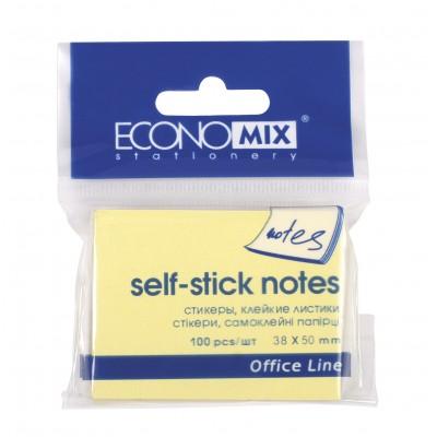 Блок для заметок с клейким шаром 38*50 Economix, 100 желтых листов