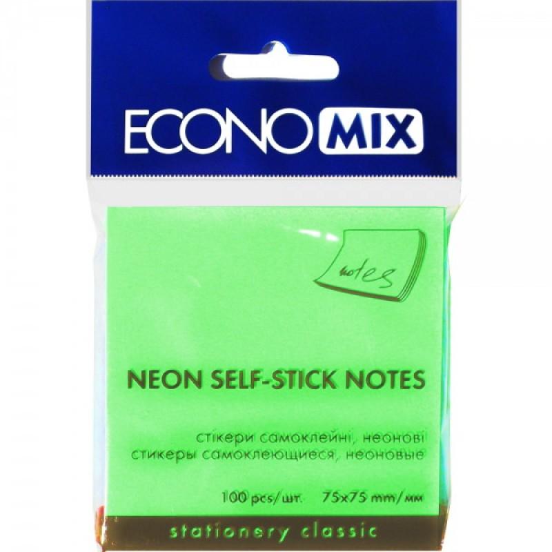 Блок для заметок с клейким шаром 75*75 мм Economix, 100 листов неон салатовый
