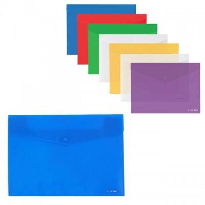 Папка-конверт А3 прозрачная на кнопке Economix, 180 мкм фактура глянец, ассорти