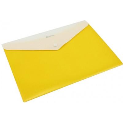 Папка-конверт А4 непрозрачная на кнопке Optima, 180 мкм, фактура полосатая, желтая