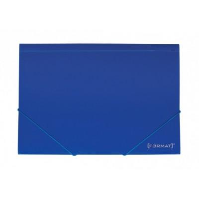 Папка пластиковая для документов А4 Format на резинках под нанесение, синяя
