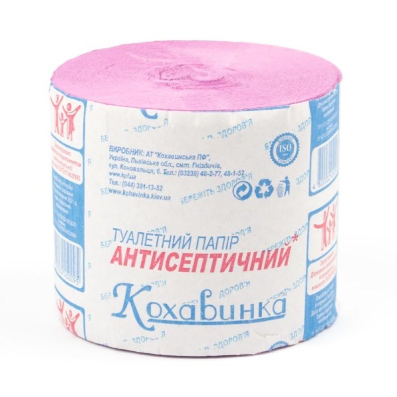 "Туалетная бумага ""Кохавинка"" антисептическая без втулки 100х90 мм,  розовая KH-002P"