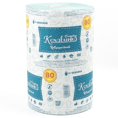 """Бумажные полотенца """"Кохавинка"""" на втулке отрывные , 134х215 мм, 80м. 600 отрывов"""