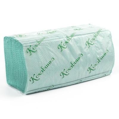 """Полотенца бумажные в листах """"Кохавинка"""" V-V  сложения, 170 шт., зеленые"""