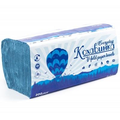 Полотенца бумажные в листах Кохавинка V-fold однослойные 200 шт, синие
