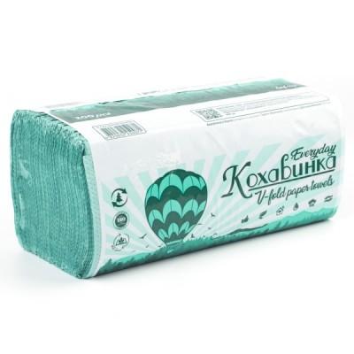 """Полотенца бумажные в листах """"Кохавинка"""" V-V -сложение 200 шт. зеленые"""