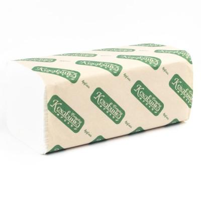 """Полотенца бумажные в листах """"Кохавинка"""" V-V сложения, 160 шт., двухшаровые белые"""