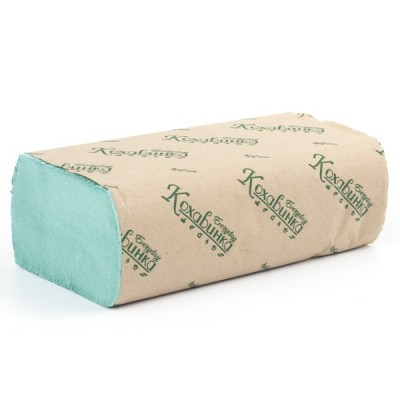 """Полотенца бумажные в листах Z-сложение, """"Кохавинка"""" зеленые 200 шт"""