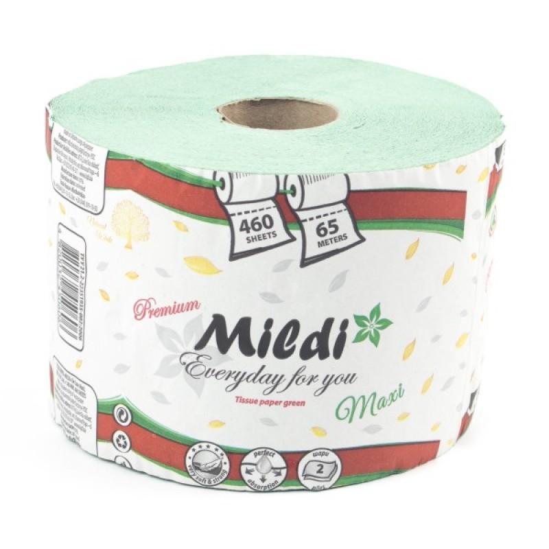 Туалетная бумага Mildi Premium Maxi однослойный, 65 метров, 460 отрывов, зеленый