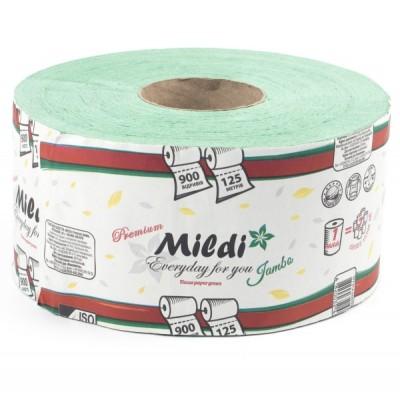 Туалетная бумага Mildi Premium Jambo однослойный 195х90 мм, 900 отрывов, 125 метров, зеленый
