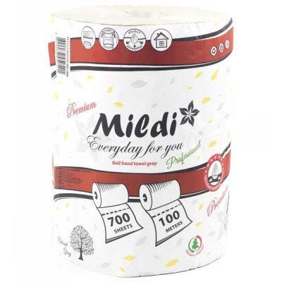 Полотенца рулонные Mildi Premium однослойные d = 160 мм, 100 м, 700 отрывов, серые