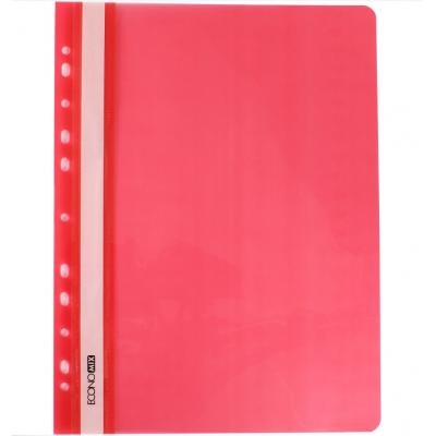 Папка-скоросшиватель А4 Economix с перфорацией, фактура глянец, красная