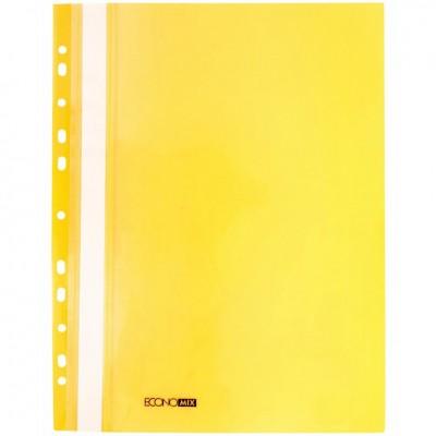 Папка-скоросшиватель А4 Economix с перфорацией, фактура глянец, желтая