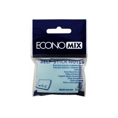 Блок для заметок с клейким слоем 38x50 мм Экономикс, 100 л., Голубой
