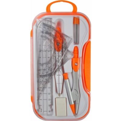 Готовальня в кейсе с кнопкой, Economix, 8 предметов, оранжевая E81419