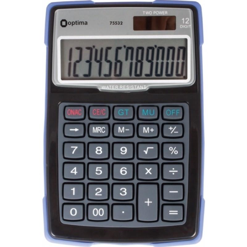 Калькулятор настольный Optima 12 разрядов, водонепроницаемый, размер 156 * 103 * 38 мм O75532