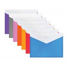 Папка конверт непрозрачная А4 на кнопке Оптима,180 мкм фактура ПОЛОСА ассорти