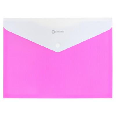 Папка конверт непрозрачная А4 на кнопке Оптима,180 мкм фактура ПОЛОСА розовая.