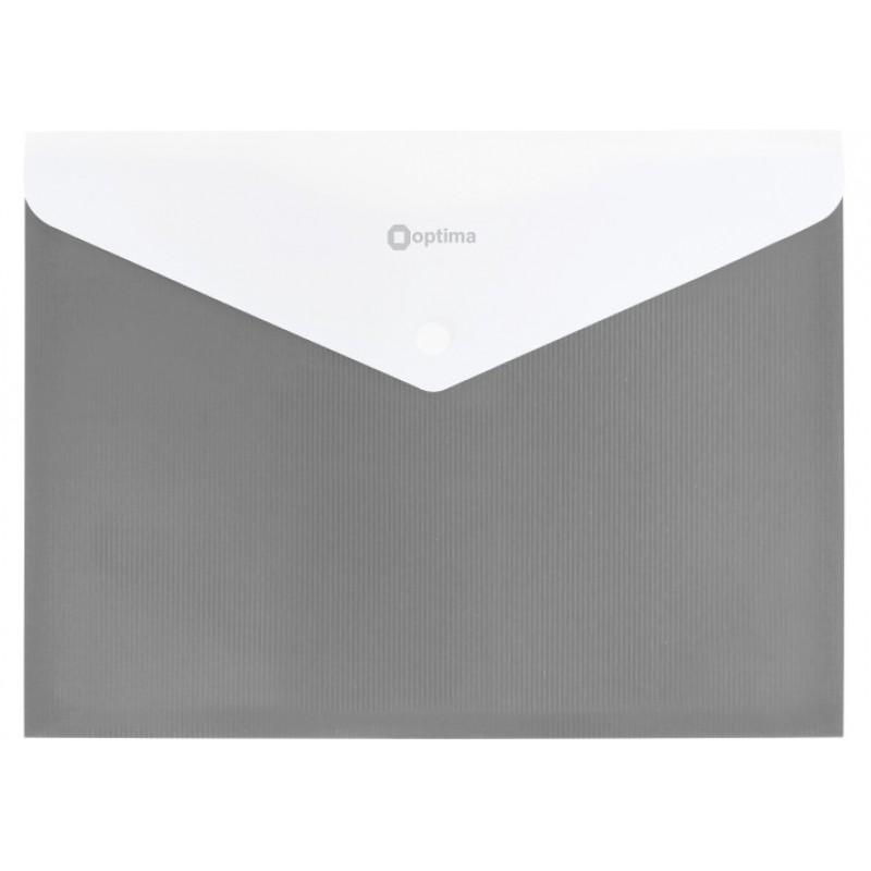 Папка конверт непрозрачная А4 на кнопке Оптима,180 мкм фактура ПОЛОСА серая.