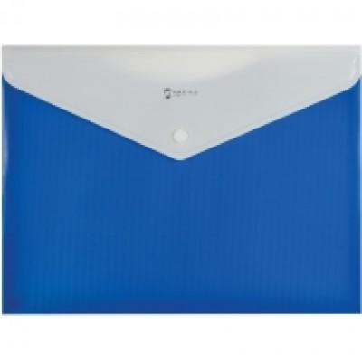 Папка конверт непрозрачная А4 на кнопке Оптима,180 мкм фактура ПОЛОСА синяя.