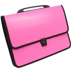 Портфель на застежке, фактура Вышиванка, розовый