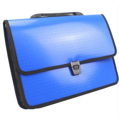 Портфель на застежке, фактура Вышиванка, синий
