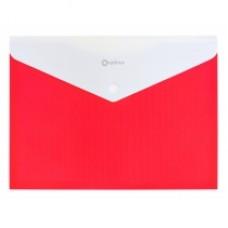 Папка конверт непрозрачная А4 на кнопке Оптима,180 мкм фактура ПОЛОСА красная.