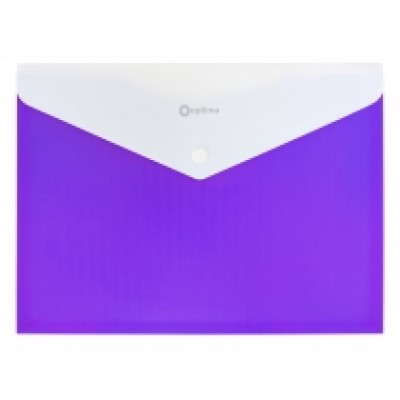 Папка конверт непрозрачная А4 на кнопке Оптима, 2 отделения, 180 мкм фактура ПОЛОСА фиолетовая